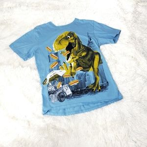 T Rex & hot dogs tee boy's Large 10/12